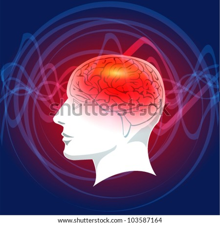 Human head and brain - stock vector