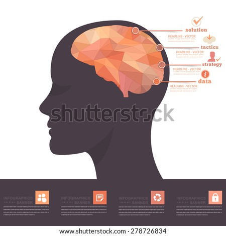 Human Head and Brain Business Strategy and Solution, Numbered Banner Geometric Polygonal, Elements Infographics Vector Design - stock vector