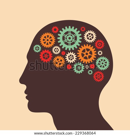 Human head and brain process - vector concept illustration in flat design style for business presentation, brochure, web site and other projects. Human head with gears. Infographic concept.  - stock vector