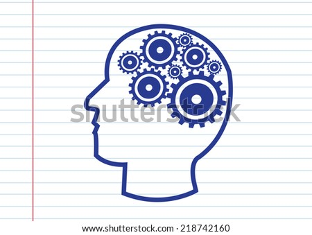 Human head and gears brain idea concept