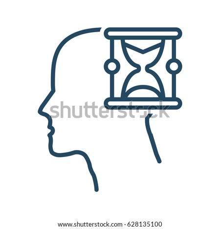 Human Head Hourglass Vector Icon Meaning Stock Vector 628135100