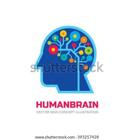 Human head brain - vector logo. Mind concept illustration. Electronic structure. Education sign. Thinking symbol. Creative idea.  - stock vector