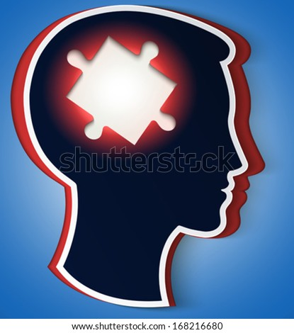 Human head. concept of a new idea, piece of the puzzle in the form a brain in red color - stock vector
