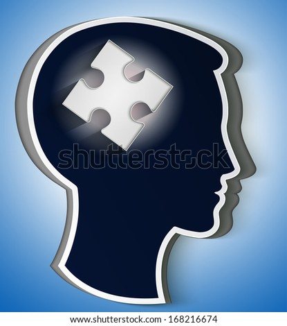Human head. concept of a new idea, piece of the puzzle in the form a brain in white color - stock vector