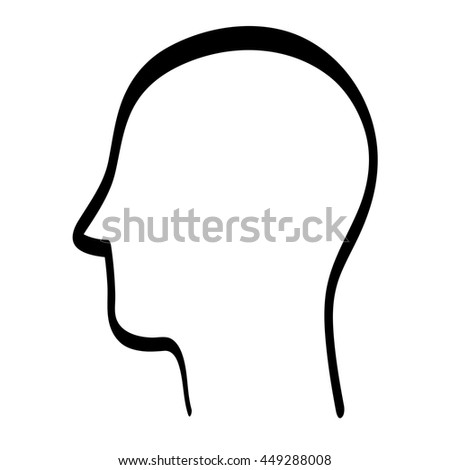 Human head concept represented by silhouette icon. isolated and flat illustration