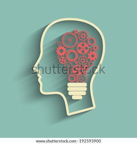 Human head creating a new idea. Creative Idea. vector. - stock vector