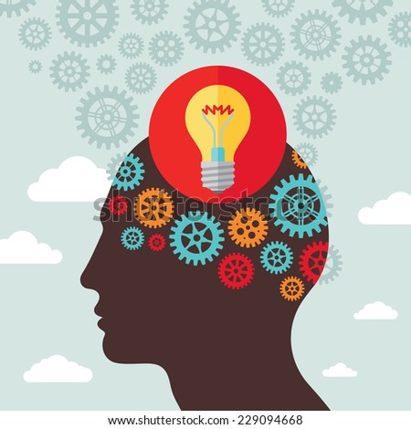 Human head creative idea inspiration - vector illustration in flat design style for business presentation, brochure, web site etc. Light bulb lamp, gears and clouds. Infographic concept.