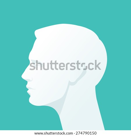 Human head. Flat illustration. - stock vector
