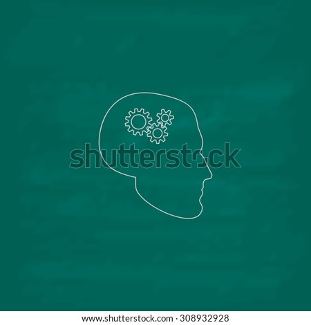 Human head gear hybrid knowledge. Outline vector icon. Imitation draw with white chalk on green chalkboard. Flat Pictogram and School board background. Illustration symbol