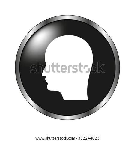 Human head icon icon - vector button