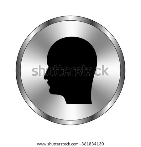 Human head icon - vector icon;  metal button