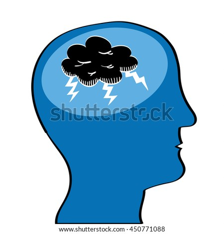 Human head in profile with a black storm cloud and lightening in the brain area as a metaphor for mental health issues - stock vector