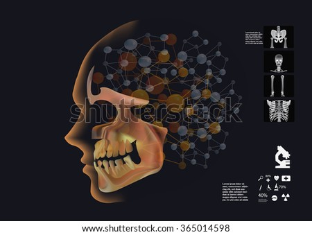 Human head infographics, Human head silhouette in dark background with skull like MRI scan and medical elements. human brain in molecule form. - stock vector