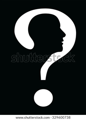 human head inside question mark symbol black and white pictograph - stock vector