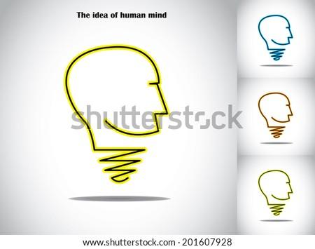 human head light bulb idea abstract concept illustration art. A symbol in the shape of a light bulb and human head - creativity and innovation artwork - stock vector