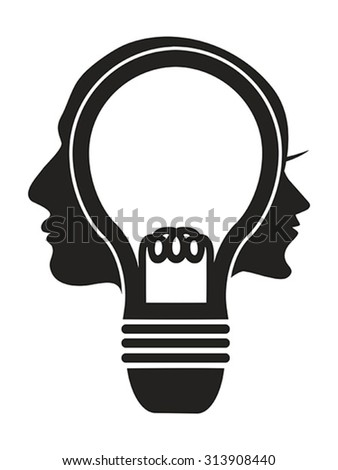 human head lightbulb - stock vector