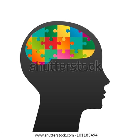 Human head made of puzzle - stock vector