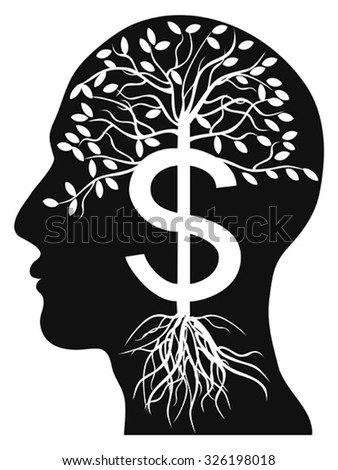 human head money tree - stock vector