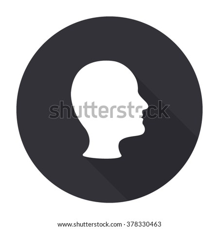 human head profile icon with long shadow - vector round button