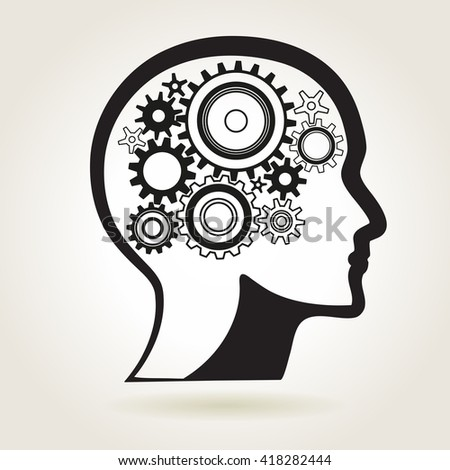 Human head shape with cog wheels, idea or technical process or mind solution symbol, vector illustration