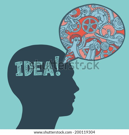 Human head silhouette thinking idea man with engineers pattern speech bubble poster vector illustration - stock vector