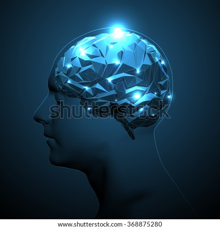 Human Head Silhouette with Active Brain. - stock vector