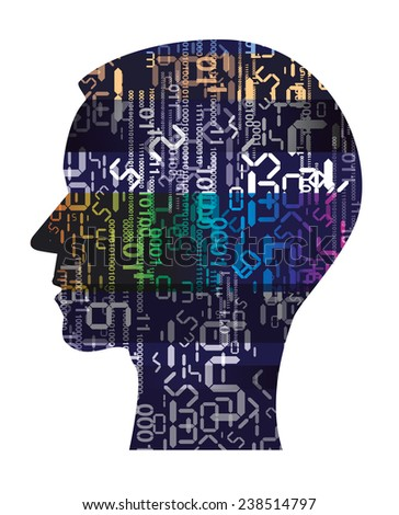Human Head silhouette with digital numbers. Human Head silhouette with digital numbers. Concept for information technology.  Vector illustration.