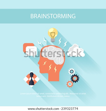 Human head silhouette with gear brain chess light bulb idea and clouds. Brainstorming process concept in flat design - stock vector