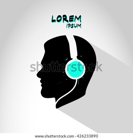 Human head silhouette with headphones logo / label / icon isolated on abstract background