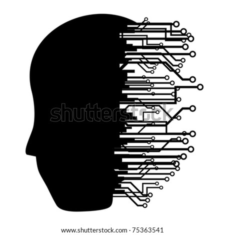 Human head silhouette with many connections - stock vector