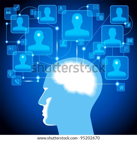human head. social media, communication in the global computer networks.File is saved in AI10 EPS version. This illustration contains a transparency - stock vector