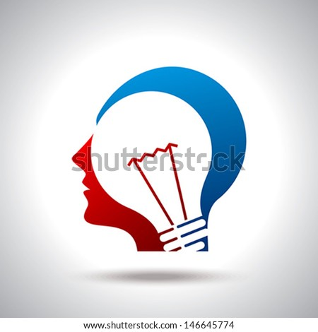 human head thinking a new idea - stock vector