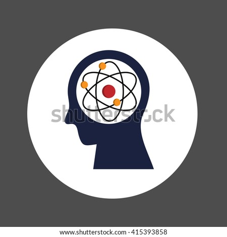 Human Head with Atom , invention and idea concept, Flat design Vector Illustrator - stock vector
