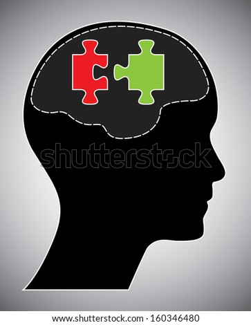 Human head with brain and puzzle. Creative brainstorm design concept. Easy to edit  abstract isolated vector illustration. - stock vector