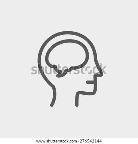 Human head with brain icon thin line for web and mobile, modern minimalistic flat design. Vector dark grey icon on light grey background. - stock vector