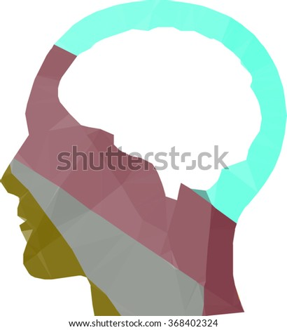 human head with brain section on a vector geometric illustration - stock vector