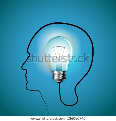 Human head with Bulb symbol Business - design concepts - stock vector
