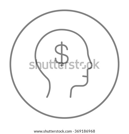 Human head with dollar symbol line icon. - stock vector