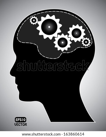 Human head with gears. Black brainstorm concept with gears and head silhouette. Isolated easy to edit vector illustration.