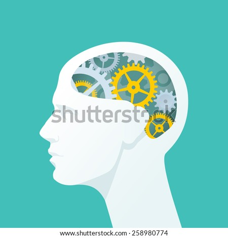 Human head with gears. Head thinking. Flat illustration. - stock vector