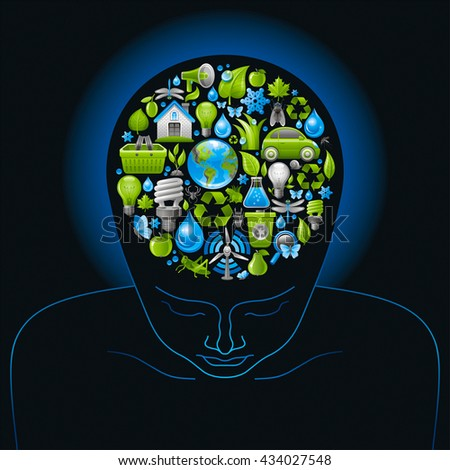 Human head with green and blue concept ecological icons in brain on black background - stock vector