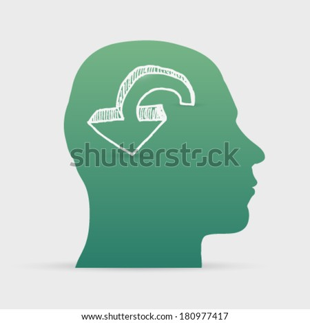 Human head with hand drawn arrow icon background illustration
