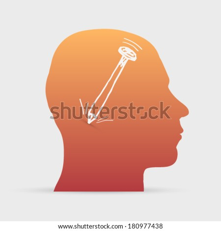 Human head with hand drawn iron nail icon background illustration