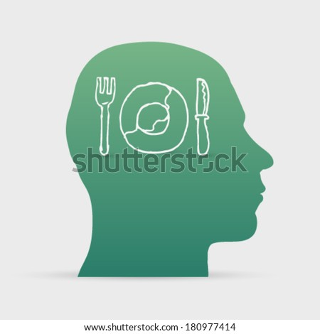 Human head with hand drawn plate, fork and knife icon background illustration - stock vector