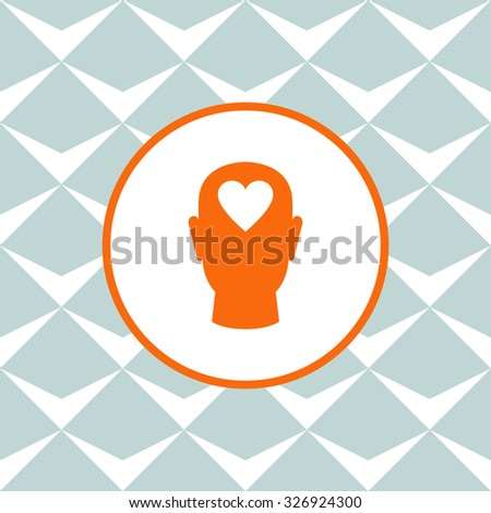 Human head with heart vector icon. Seamless background with geometric design. - stock vector