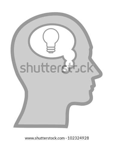 Human head with idea concept, bulb as invention sign - stock vector