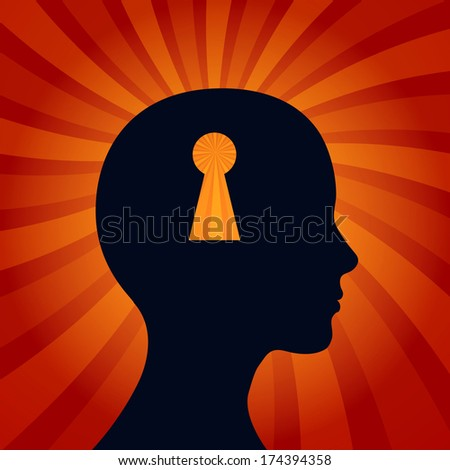"""Human head with keyhole mark symbols. """"Security"""" concept.  - stock vector"""