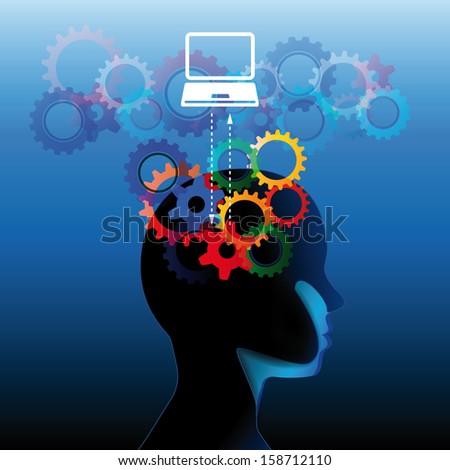 Human head with many gears - stock vector