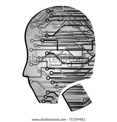 Human head with many technological connections - stock vector