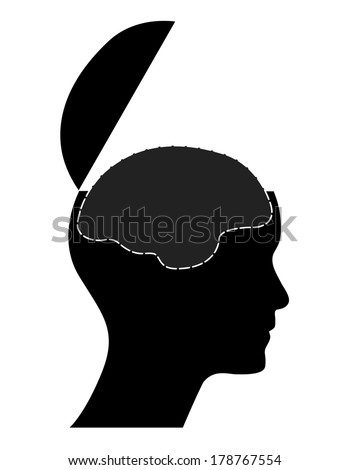 Human head with open mind and brain, creative business vector illustration. - stock vector
